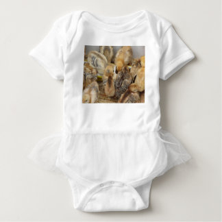 Chicks on straw eating feed in the chicken coop baby bodysuit