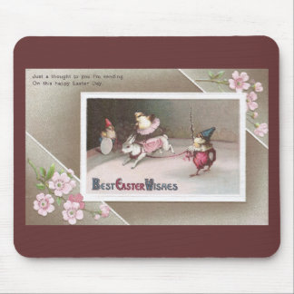 Chicks Rides Resinback Rabbit in Easter Circus Act Mouse Pad