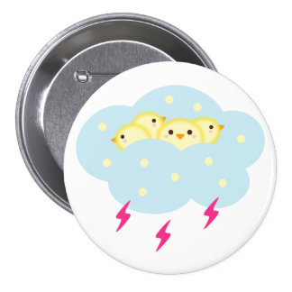 Chicks Riding Cloud 3 Inch Round Button