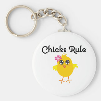 Chicks Rule Basic Round Button Keychain