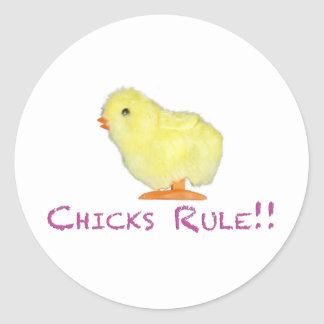 Chicks Rule Side Transparent Classic Round Sticker