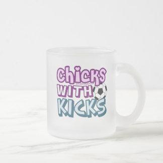 Chicks with Kicks Frosted Glass Coffee Mug