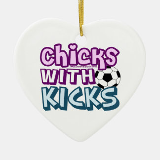 Chicks with Kicks Double-Sided Heart Ceramic Christmas Ornament
