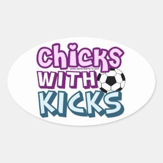 Chicks with Kicks Oval Sticker