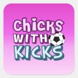 Chicks with Kicks Square Sticker