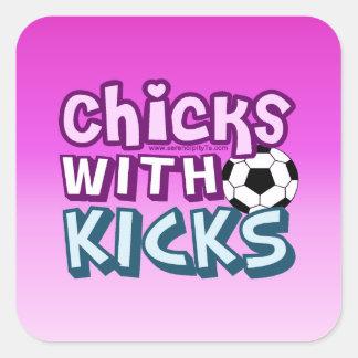 Chicks with Kicks Square Stickers