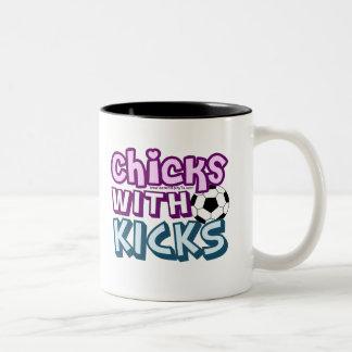 Chicks with Kicks Two-Tone Coffee Mug