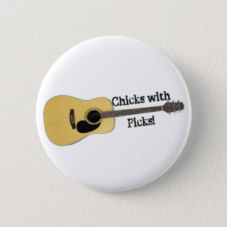 Chicks with Picks Pinback Button