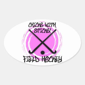 Chicks With Sticks - Field Hockey Oval Sticker