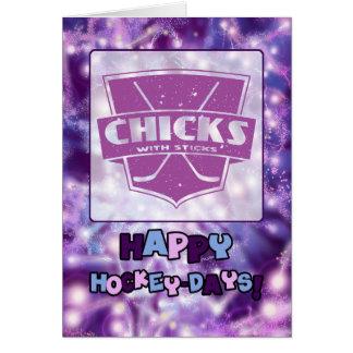 Chicks With Sticks Hockey Christmas Card