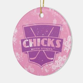 Chicks With Sticks Hockey Christmas Ornament