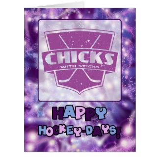 Chicks With Sticks Hockey Holiday Card