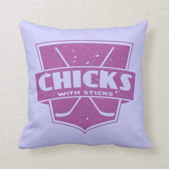 Chicks With Sticks Hockey Pillow