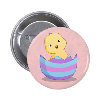 Chicky en un botón del huevo de Pascua Pin Redondo De 2 Pulgadas