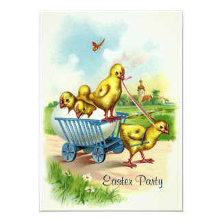 """Chicky Wagon Easter Party Invitation 5"""" X 7"""" Invitation Card"""