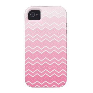 Chicle rosado femenino Ombre Chevron Vibe iPhone 4 Carcasa