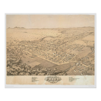Chico, mapa panorámico 1871 (0272A) del CA Poster