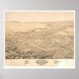 Chico, mapa panorámico 1871 (0272A) del CA Póster