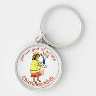 Chicomexochtli patron god of painters and artist k Silver-Colored round keychain