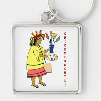 Chicomexochtli patron god of painters and artist k Silver-Colored square keychain