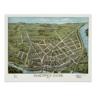 Chicopee, MA Panoramic Map - 1878 Poster