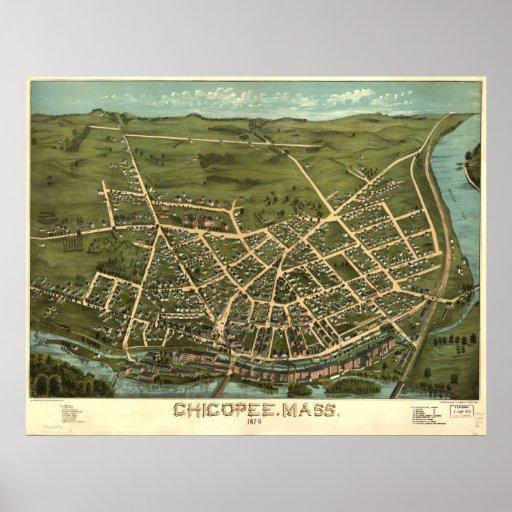 Chicopee Massachusetts 1878 Antique Panoramic Map Poster