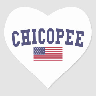 Chicopee US Flag Heart Sticker
