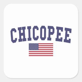 Chicopee US Flag Square Sticker