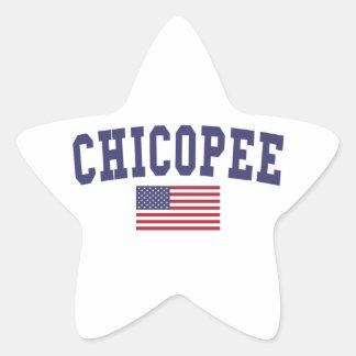 Chicopee US Flag Star Sticker