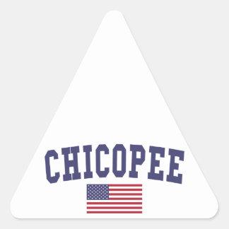 Chicopee US Flag Triangle Sticker