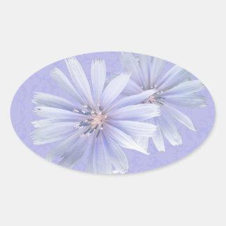 Chicory Wildflower Oval Sticker