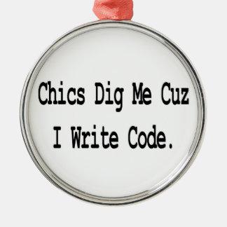 chics dig me cuz write code ornaments