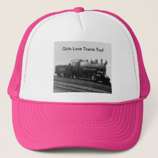 Chics Like Trains Too! Steam Engine Train Trucker Hat