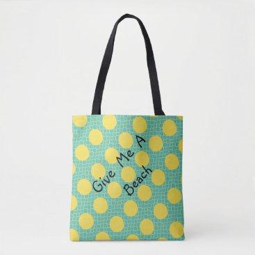 Beach Themed ChicYellow Dots Aqua bag for beach or shopping
