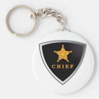 Chief badge basic round button keychain