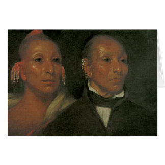 Chief Black Hawk and His Son Greeting Cards