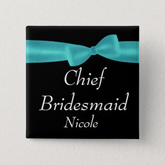 CHIEF BRIDESMAID Aqua Bow Wedding Custom Name Y122 Pinback Button