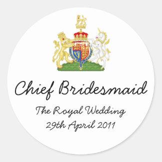 Chief Bridesmaid - fun Royal wedding memorabilia Classic Round Sticker