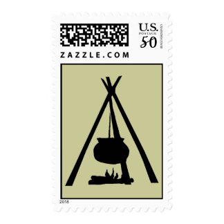 CHIEF CAMP COOK'S DUTCH OVEN OVER CAMPFIRE STAMP