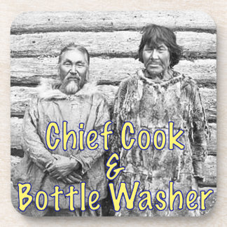 Chief Cook and Bottle Washer Set of Cork Coasters