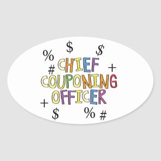 Chief Couponing Officer- www.GrammarGumbo.com Oval Sticker