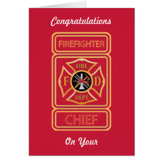 Chief Firefighter's Promotion Card Greeting Cards