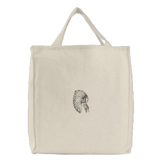Chief indian headress embroidered canvas tote bag