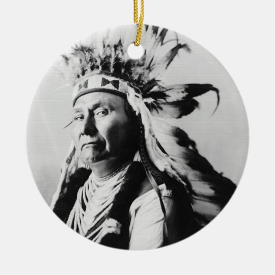 'Chief Joseph: Headdress' Ceramic Ornament