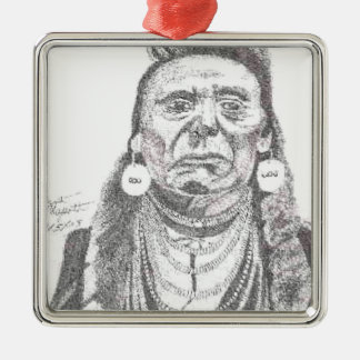 CHIEF JOSEPH.PNG Chief Joseph drawing Square Metal Christmas Ornament