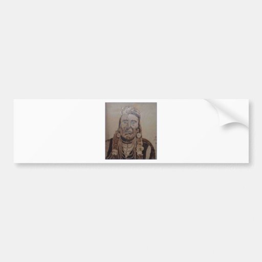 Chief Joseph wood burning Bumper Stickers