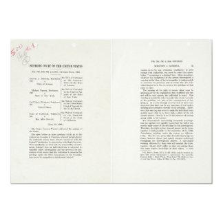 Chief Justice Earl Warren Miranda v Arizona Case 5x7 Paper Invitation Card