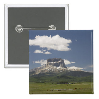 Chief Mountain With Pastures Of Grazing Cattle 2 Inch Square Button