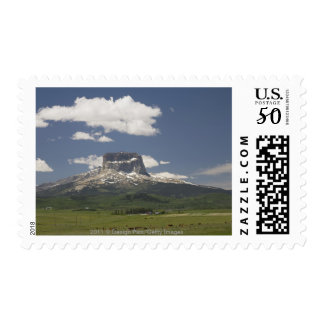 Chief Mountain With Pastures Of Grazing Cattle Postage