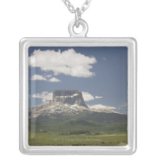 Chief Mountain With Pastures Of Grazing Cattle Silver Plated Necklace